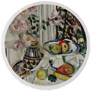 Still Life With Daisies And Fruit Round Beach Towel