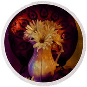 Still Life With Daisies And Grapes - Oil Painting Edition Round Beach Towel