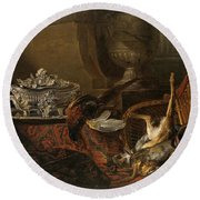 Still Life With Dead Game And A Silver Tureen On A Turkish Carpet Round Beach Towel
