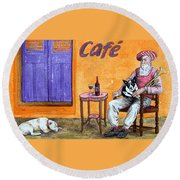 Still Life With Dogs And Music Round Beach Towel