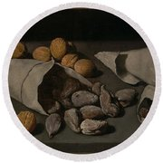 Still Life With Dried Fruit Round Beach Towel