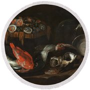 Still Life With Fish And Oysters  Round Beach Towel