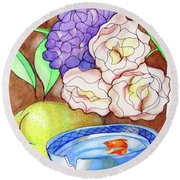Still Life With Fish Round Beach Towel by Loretta Nash