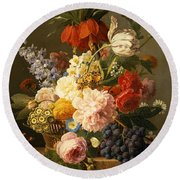 Still Life With Flowers And Fruit Round Beach Towel by Jan Frans van Dael