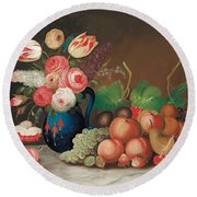 Still Life With Fruit And Flowers Round Beach Towel