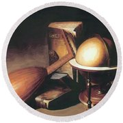 Still Life With Globe Lute And Books Round Beach Towel