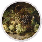 Still-life With Grapes And Pears Round Beach Towel