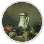 Still Life With Grapes And Pomegranates Round Beach Towel by Jean-Baptiste Simeon Chardin