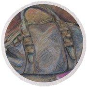 Still Life With Handbag And Notepad Round Beach Towel