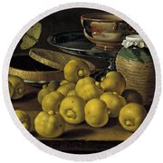 Still Life With Lemons And A Pot Of Honey Round Beach Towel