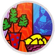 Still Life With Matisse And Mona Lisa Round Beach Towel