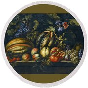 Still Life With Melons Apples Cherries Figs And Grapes On A Stone Ledge Round Beach Towel