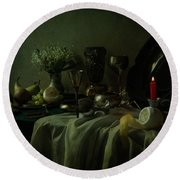 Still Life With Metal Dishes, Fruits And Fresh Flowers Round Beach Towel