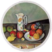 Still Life With Milkjug And Fruit Round Beach Towel by Paul Cezanne
