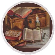 Still Life With Old Books Round Beach Towel