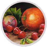 Still Life With Peaches And Cherries  Round Beach Towel