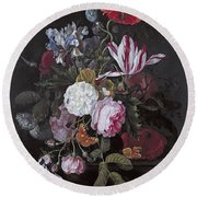 Still Life With Peonies Roses Irises Poppies And A Tulip With Butterflies A Dragonfly And Other Inse Round Beach Towel