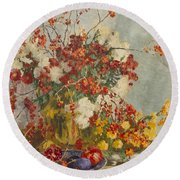 Still Life With Pink Flowers Round Beach Towel
