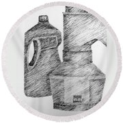 Still Life With Popcorn Maker And Laundry Soap Bottle Round Beach Towel