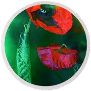Still Life With Poppies. Round Beach Towel