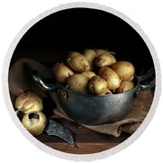 Still Life With Potatoes Round Beach Towel