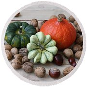 Still Life With Products Of Autumn Round Beach Towel