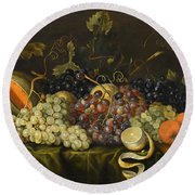 Still Life With Red Black And Green Grapes Round Beach Towel