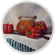 Still Life With Red Peppers Round Beach Towel
