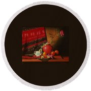 Still Life With Red Vase. Round Beach Towel
