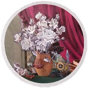 Still Life With Roses And Books Round Beach Towel