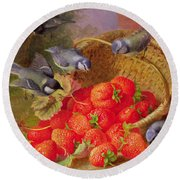 Still Life With Strawberries And Bluetits Round Beach Towel