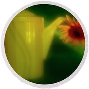 Still Life With Sunflower And Coffee Pot. Round Beach Towel