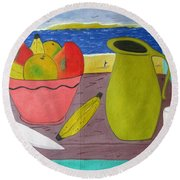 Still Life With Sunsed Round Beach Towel