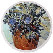 Still Life With Thistles Round Beach Towel by Vincent van Gogh
