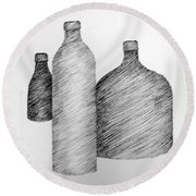 Still Life With Three Bottles Round Beach Towel