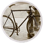 Still Life With Trek Bike In Sepia Round Beach Towel