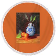 Still Life With Vase And Fruit Round Beach Towel