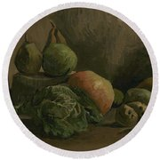 Still Life With Vegetables And Fruit Nuenen, Autumn 1884 Vincent Van Gogh 1853  1890 Round Beach Towel