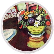 Still Life With Venison And Ostrich Pillow By August Macke Round Beach Towel