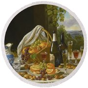Still Life With Wine And Fruit Round Beach Towel