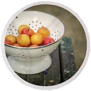 Still Life With Yellow Plums  Round Beach Towel