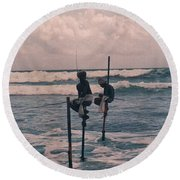 Stilt Fishermen Of Sri Lanka Round Beach Towel