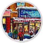 Stilwell's Candy Shop Montreal Memories Lasalle Verdun Winter City Scene Hockey Art Carole Spandau   Round Beach Towel