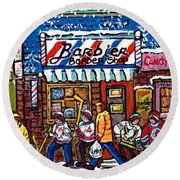 Stilwell's Candy Stop Winterscene Painting For Sale Montreal Hockey Art C Spandau Snowy Barber Shop Round Beach Towel