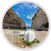 Stinva Bay Beach Summer View Round Beach Towel