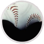 Stitches Of The Game Round Beach Towel