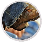 Stock Show Boots I Round Beach Towel