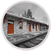 Stockbridge Train Station Round Beach Towel