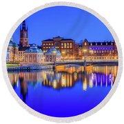 Stockholm Blue Hour Postcard Round Beach Towel