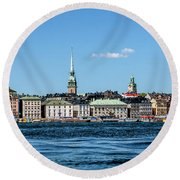 Stockholm From Lake Malaren Round Beach Towel